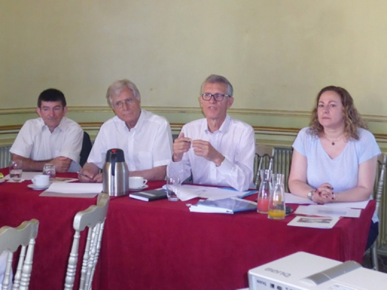 De gauche à droite : Jean-François Cerise (vice-président), Jean-Pascal Chirat (vice-président), Eric Bataille (président) et Evelyne Bechtel (chargée de communication).