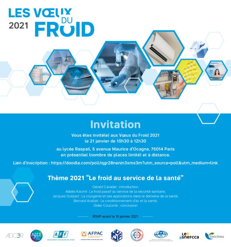 L'AFPAC vous invite à la cérémonie des Voeux du Froid 2021 le 21 janvier 2021 de 10h à 12h30 sur le thème « Le froid au service de la santé »
