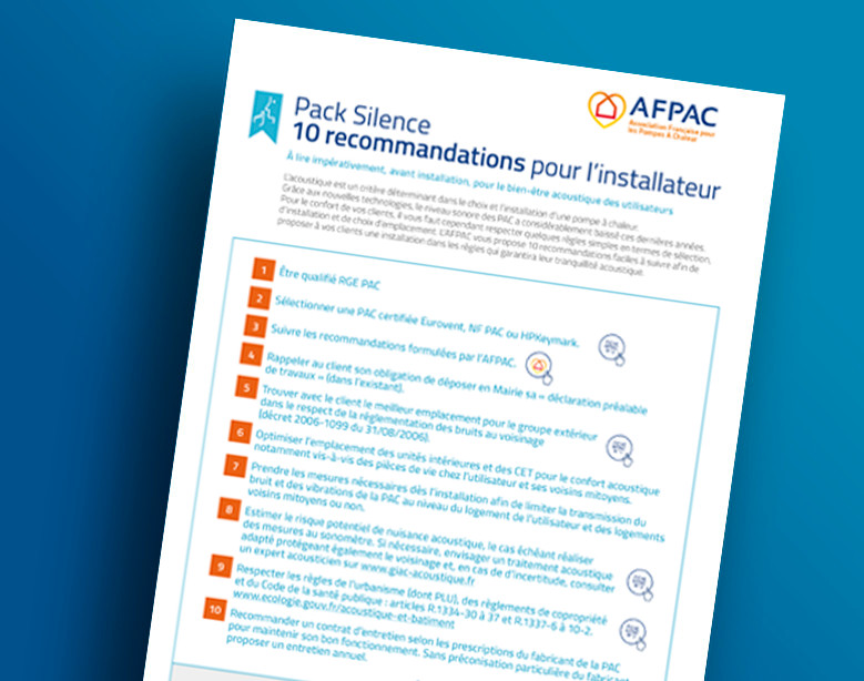 Pack Silence - 10 recommandations pour l'installateur - 10 recommandations pour l'utilisateur